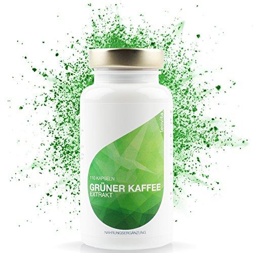 LEOVita Grüner Kaffee Extrakt • Fettverbrennung durch erhöhten Stoffwechsel • schnell Abnehmen • Grüner Kaffee Kapseln hochdosiert mit viel Chlorogensäure • 110 Kapseln • 100% Vegan • hergestellt in
