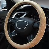 XuanMax Universal Funda de Volante Coche Cuero Precioso Piel Patron de Rhombus Respirable Vehiculo Cubierta del Volante Envoltura Protectora Antideslizante Auto Lambskin Leather Steering Wheel Cover 38cm - Beige