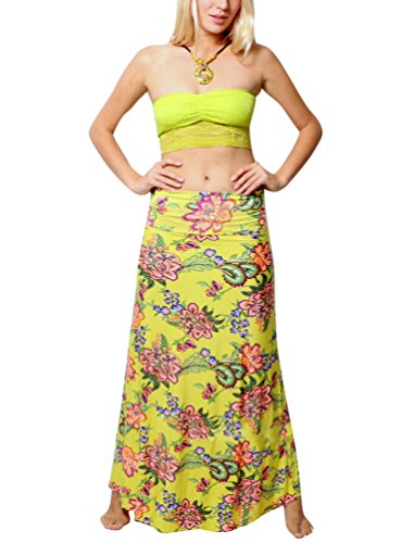 YOUJIA Damen Gedruckt Casual Strandkleid Boho Kleid Hohe Taille Lange Rock Blume