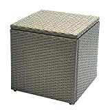 Outdoor Patio Resin Wicker Deck Box Lagerung Container Bank Sitz, 21 Gallone, Anti Rust Aluminium Rahmen, All Weather Resistant (17,7'' 17,72'' 17,72'', Kastanie)