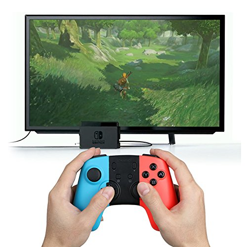 YTGOOD Wireless PRO Controller per Nintendo Switch, Wireless Bluetooth Gamepad Controller con Dual Vibration Feedback e funzioni Turbo, ASSE giroscopio per Nintendo Switch(Blu + Rosso)