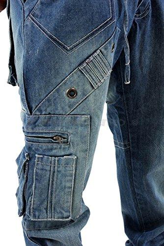 Brooklyn Cargo Combat Jeans Blau Stone Wash