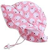 Cappello di Protezione solare Bambino piccolo 50+, misura adattabile traspirante con sottogola a strappoq (M:6mesi-3Anni,Mela rosa)