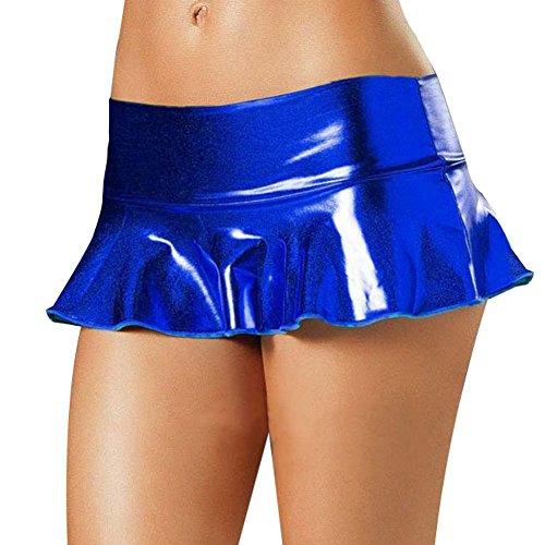 Agoky Damen Wet-Look Minirock PVC Leder Rock mit Höschen Rave Booty Tanz Clubwear Blau One_Size