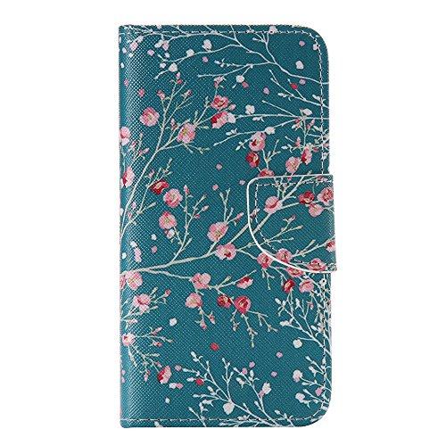 Nancen Samsung Galaxy S4 Mini I9190 i9195 (4,3 Zoll) Handy Lederhülle, Flip Case Wallet Cover with Stand Function, Folio Bookstyle Handytasche Soft Silikon Bunte Muster Tasche PU Leder Slim Shell Handyhülle.