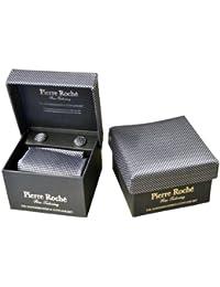 Cravate, mouchoir et boutons de manchette pour hommes, Noir avec pointillés tricotés à l'intérieur / Boîte cadeau