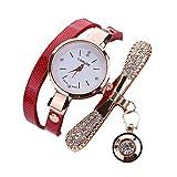 Mode Damen Uhren Leder Strass Analog Quarz schlanker Gürtel Wickeluhr Diamant Anhänger Armbanduhr Uhr Groveerble