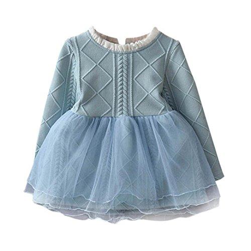 Longra Kinder Baby Mädchen Strick Pullover Kleid Winter Häkeln Tutu Kleid Tops Kleidung Herbst-Winter Langarm Mädchen Kleid(3-7Jahre (110CM 5Jahre, Blue)