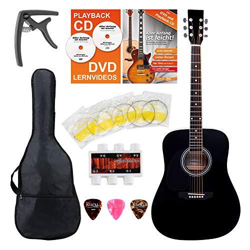 Classic Cantabile WS-10BK-LE Westerngitarre für Linkshänder Starter-Set (Dreadnought-Style, Lefthand, 6 Saiten, 20 Bünde, inkl. Zubehörset, Gitarrentasche, Notenheft, Saiten, Plektren) schwarz