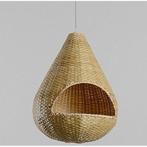 FWEF Paja De Mimbre De La Rota De Bambú De La Lámpara De Iluminación Iluminación Restaurante Rural Pastoral Americana De América Del Norte Barra De Pasillo De La Personalidad De Bambú