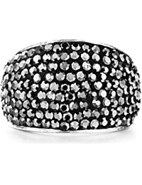 Beautiful Shimla S//Steel Stone Set Ring With Black Crystals Size Sm RRP £25.00