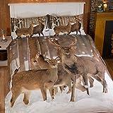 Stag Hirsch Fotografien Tiere Quilt Bettbezug und 2Kissenbezüge Bettwäsche-Set, Mehrfarbig, Mehrfarbig, Einzelbett
