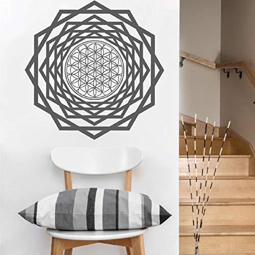 Blume Des Lebens Tunnel Vinyl Wandtattoo Heilige Geometrie Kunst Wandaufkleber Home Schlafzimmer Dekor Geometrische Einfache Wohnkultur 22 schwarz 30x30 cm