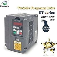Vector Control CNC VFD - Convertidor inversor de transmisión de frecuencia variable 220 V 1,5 KW 2 HP para control de velocidad del motor del eje HUANYANG Serie G (220 V, 1,5 KW)