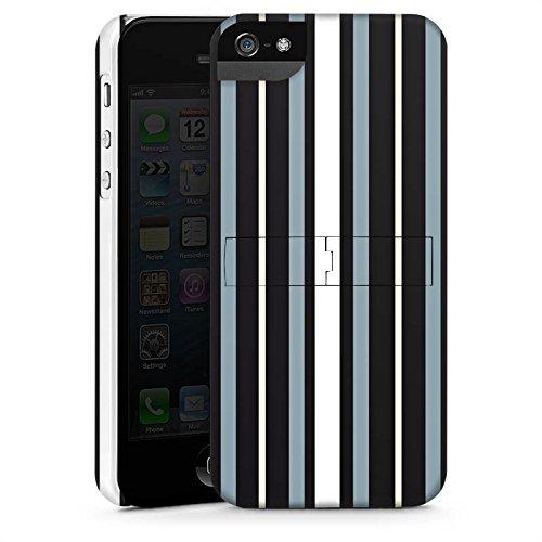 Apple iPhone 5s Housse Étui Protection Coque Bandes Tissu Motif CasStandup blanc