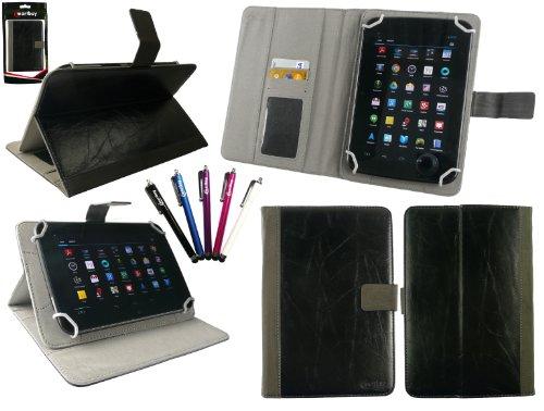 emartbuy Packung mit 5 Eingabestift +Universalbereich Schwarz Distressed PU Leather Folio Wallet Tasche Etui Hülle Cover mit Kartensteckplätze Geeignet für I.onik TP - 1200QC 7.85 Inch Tablet