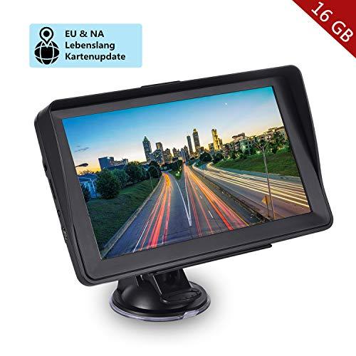 GPS Navigation für Auto, Aonerex 16GB 7 Zoll Touchscreen Navigationsgerät für LKW PKW KFZ Navi mit POI Blitzerwarnung Sprachführung Fahrspur Lebenslang Kostenloses Kartenupdate EU & Nordamerika