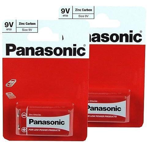 Panasonic 6F22R-1BP - Batteria zinco carbone, 9 V (confezione da 2)