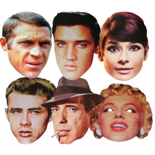 Stars d'Hollywood - Multipack - 6 Masques de Costume différents en Carte Rigide
