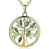 JO WISDOM damen Halskette 925 Sterling Silber Baum des Lebens Yggdrasil kubischen Zirkonia Münze Kette mit Anhänger (vergoldet,Smaragd)