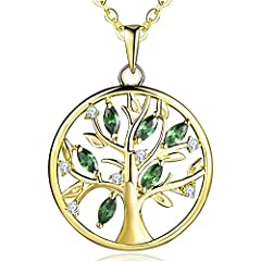 Idea Regalo - JO WISDOM collana albero della vita argento 925 sintetico smeraldo verde AAA Zirconia cubica Donna Placcato oro