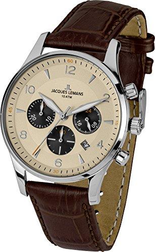 Jacques Lemans Herrenuhr Chronograph Quarz mit Lederarmband - 1-1654E