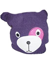 Girls Purple Glittery Animal Face Beanie Style Hat Ages 3-10 Years Available