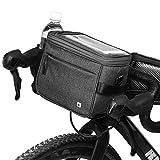 Selighting Impermeable Bolsa de Manillar de Bicicletas de Carretera y de Montaña para Ciclismo, Incluye Correa para el Hombro Extraíble y Cubierta para la Lluvia (Gris)