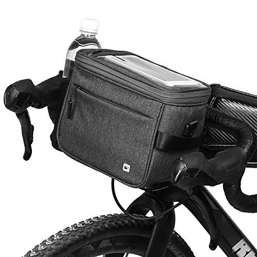 Selighting Fahrrad Lenkertasche Wasserdicht Fahrradtasche mit Regen Abdeckung (Dunkel grau)