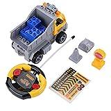 Dilwe Bausteine Spielzeug, 4CH Fernbedienung Baukran mit Beleuchtung DIY Fahrzeug Assembly Kit
