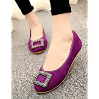 ZQ YYZ Zapatos de mujer - Tac¨®n Plano - Mocas¨ªn / Punta Redonda / Punta Cerrada - Planos - Casual - Ante - Negro / Azul / Rosa / Morado , purple-us10.5 / eu42 / uk8.5 / cn43 , purple-us10.5 / eu42 /