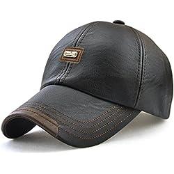 Roffatide Hombre Cuero de la PU Gorra de Beisbol Sombrero de Sol Deportes al aire libre Otoño e invierno Negro