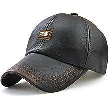 Roffatide Hombre Cuero de la PU Gorra de Beisbol Sombrero de Sol Deportes  al Aire Libre bbf6732328f