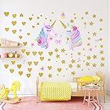 Stickers muraux Licorne pour Filles Garçons Chambre, Qkurt 2 Pack de grand vinyle maison Decal pour les enfants salon chambre filles chambre décor
