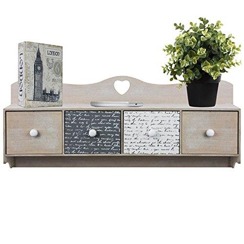 flur ablage Multistore 2002 Wandschrank 60x11x25cm mit Ablage und 4 Schubladen Hängeschrank Holzschrank für Bad und Flur