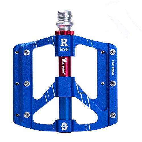 Flache Mountainbike-Pedale von West Biking, 14,29 mm, Aluminiumlegierung, Fahrradpedale für BMX, Mountainbikes und Rennräder, 1 Paar, Kinder, blau
