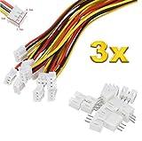 Premium 3Pin 2.0 PH 2.0mm Mini Micro JST Stecker inkl. 15cm 28AWG Kabel + Buchse Lose von Mr. Stecker Modellbau® (3x Sätze)