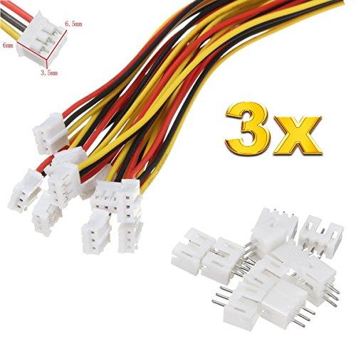 Micro-jst-anschluss (Premium 3Pin 2.0 PH 2.0mm Mini Micro JST Stecker inkl. 15cm 28AWG Kabel + Buchse Lose von Mr. Stecker Modellbau® (3x Sätze))