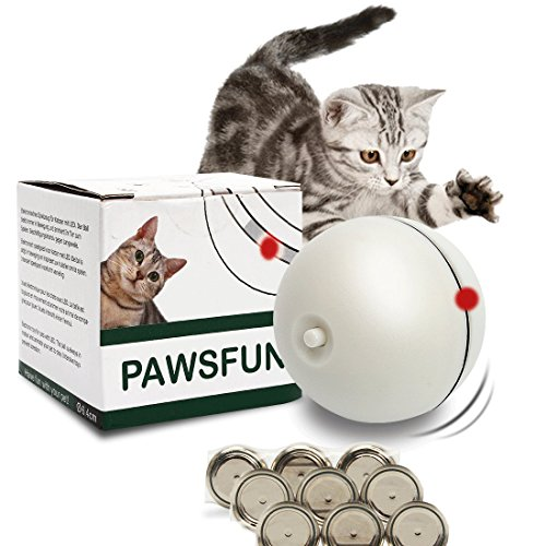PAWSFUN Juguete Gato Pelota Automatico con Luz Divertido Bola Giratoria Ejercicio para Gato Mascota Creative - Blanco