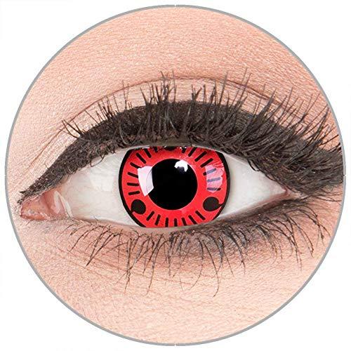 Farbige Kontaktlinsen zu Fasching Karneval Halloween in Topqualität von 'Glamlens' ohne Stärke 1 Paar Crazy Fun rote schwarze 'Sasuke' mit Behälter (Halloween Farbige Kaufen Kontaktlinsen)