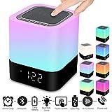 Swonuk Bluetooth Lautsprecher Kabellos Touch Control Tisch- & Nachttischlampen Nachtlicht mit Musik-Player, Wecker Digital, Freisprechen