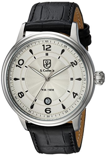 S. Coifman Men's 'Heritage' Quartz Stainless Steel and Leather Casual Watch, Color:Black (Model: SC0374)