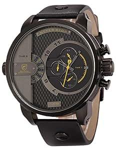 SHARK - SH159 - Montre Sport Homme - Double Temps/Date Affichage - Chronographe - Bracelet Cuir + Boîte Cadeau