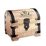 Casa Vivente Kleine Schatztruhe zum 30. Geburtstag – Schmuckkästchen mit Gravur – Aufbewahrungsbox aus hellem Holz – Verpackung für Gutscheine – Geburtstagsgeschenk für Männer und Frauen