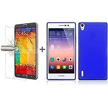 TBOC® Pack: Funda de Gel TPU Azul + Protector Pantalla Vidrio Templado para Huawei Ascend P7. Funda de Silicona Ultrafina y Flexible. Protector de pantalla Resistente a Golpes, Caídas y Arañazos.