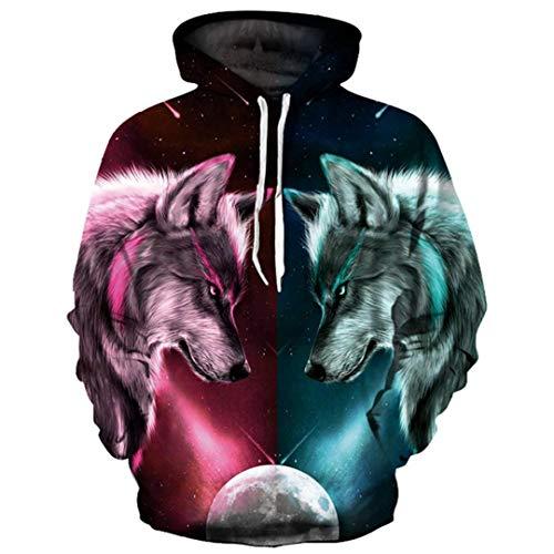 Digitaldruck Hoodies Männer/Frauen 3D Sweatshirts Print Rot Blau Doppel Wolf Hooded Hoodies YXQL765 XXL -