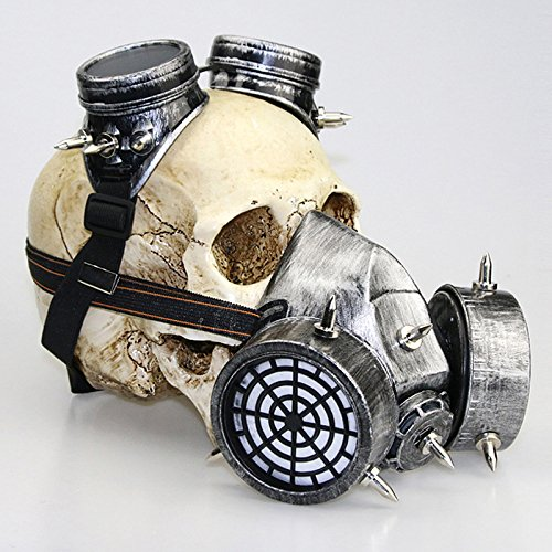 XY Fancy Halloween Schutzbrillen Maske Gasmasken Party Cosplay Fantasie Gothic Steampunk Metall Rivet Schädel Maske, Gold Silber (Steampunk Metall-brille)