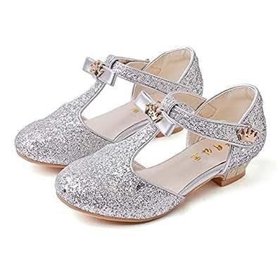 947809832077 Fanessy Sandales Fille Ballerine Chaussure à Talon Argenté Or Enfant avec  Paillette Noeud Princesse Chaussure de