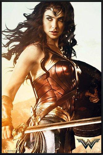 DC Universe Wonder Woman Poster Sword (93x62 cm) gerahmt in: Rahmen schwarz - Wonder Woman-poster