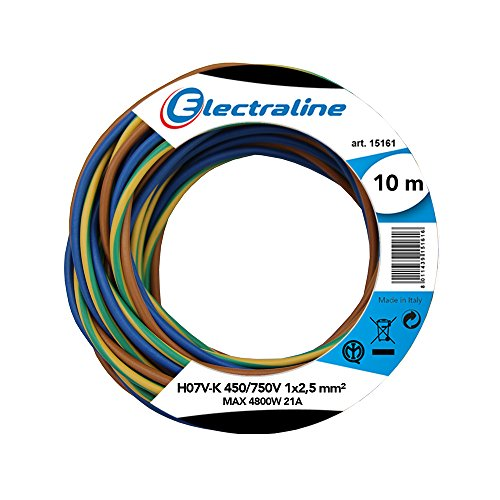Electraline 25149 Cavo Unipolare N07V-K, Sezione 1x2.5 mm, 10 mt, Marrone/Blu/Verde/Giallo